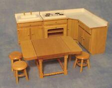 1:12 Scale 9 Piece White & Pine Kitchen Set Dolls House Miniature Accessory 820