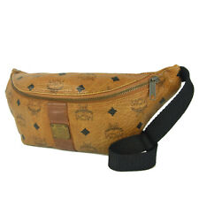 Auth MCM Vintage Logos Monogram Leather Waist Pouch Fanny Pack Bum Bag 5561bkc