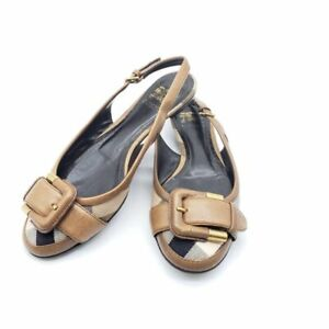 100% Authentic Burberry Flat Leather Brown Sandal