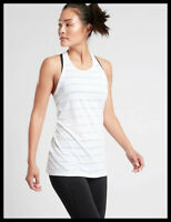Athleta NWT Women's High Neck Chi Stripe Tank Size Med Color White