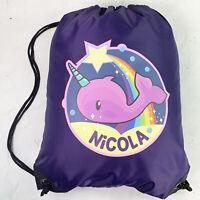Personalised Narwhal Drawstring Purple PE Bag Kids Swimming Gym Kit School