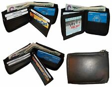 Men's Zip around wallet Leather wallet Center piece 8 credit cards ID 2 Billfold