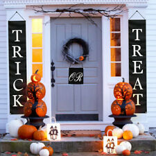 Trick or Treat Halloween Banner Black Flag Home Door Hanging Sign Porch Decor US