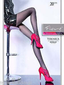 Veronica Lurex Pantyhose Fiore sheer 20 den sparkle glitter: black navy burgundy