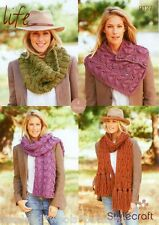 LADIES  SCARF COWL NECK CUFF SUPER CHUNKY KNITTING PATTERN STYLECRAFT 9127