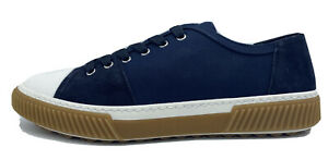 $550 Prada Blue Nylon and Suede Laces Up Sneakers Size US 9