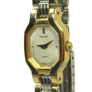 PULSAR women's watch Model Y150-5870 Gold and silver with light silver dial