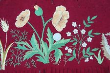 """Antique Victorian French Silk Hand Embroidery On Maroon Wool Felt c1870~8""""X33"""""""