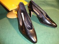 Exquisite d'ROSSANA by Charna Black Leather Dress  SHOES Ladies 5 M Italy