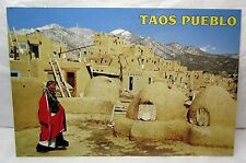 Taos Pueblo Postcard New Mexico Adobe Ovens Native American Historical Site Usa