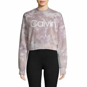 CALVIN KLEIN logo tie dye cropped pullover women's sweatshirt -Purple -MEDIUM