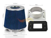 BLUE Mass Air Flow Sensor Intake MAF Adapter + Filter 83-91 Porsche 944 S S2 2.5