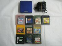 Q9 Nintendo Gameboy Advance SP console Azurite Blue & game Adapter Japan GBA