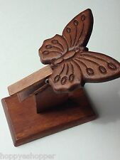 Butterfly Clip Carving Wood Stand Recipe Business Card Holder Vintage