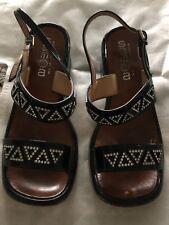 Samoa Italy 6.5 Black Patent Leather Rhinestone Slingback Sandal Block Heel Vtg