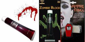 VAMPIRE DRACULA FANGS CAPS TEETH HALLOWEEN FANCY DRESS FAKE BLOOD ADHESIVE