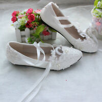 Women Girls Wedding Shoes Pearls  flowers  lace-up Bridal Flats Low High Heels