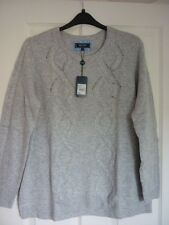 MAINE NEW ENGLAND GREY CASHMERE MIX CABLE TRIM JUMPER UK 22, EUR 48-50 US 18 BN