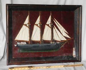 Antique folk art diorama three-masted schooner Elsie May lighthouse deadeyes
