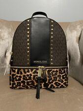NWT Michael Kors Rhea Medium Studded Logo Leopard Calf Hair Backpack Brown Black