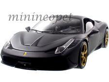 HOT WHEELS ELITE  BLY33 FERRARI 458 SPECIALE 1/18 DIECAST MODEL CAR MATTE BLACK