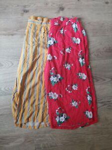 ladies culottes bundle size 20 george red floral/ ocre stripe