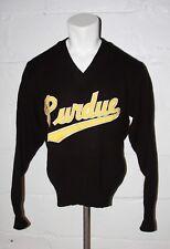 VTG Purdue Boilermakers Black V Neck Acrylic Letterman Varsity Sweater