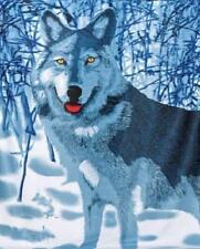 "Wolf Animal Fleece Throw Wildlife Bed Blanket Wolf in the snow 60"" X 50"" New"