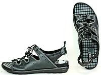 ECCO Womens Sandals size 10-10.5 Black Leather Toggle Lace Shoes ML5