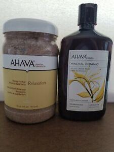 Ahava Honey-Herbal Mineral Bath Salts & Velvet Cream Wash (Honeysuckle/Lavender)