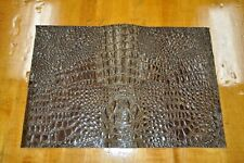 """New! Soft, Thin Brown Crocodile Craft Leather Piece 12"""" by 18"""" 1.5 square feet"""