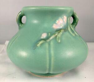 1930s/1940s Weller Pottery Squat Handled Blue-Green Vase White Floral Spray