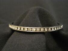 Silver tone Rhinestone Round Bangle Bracelet EUC
