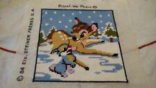 Vtg 84's Bambi Walt Disney Prod  Royal Paris Needlepoint finished Embroidery