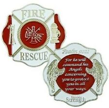 Firefighters Pocket Coin with Psalm 91:11 and St. Florian & Jesus Prayer Card