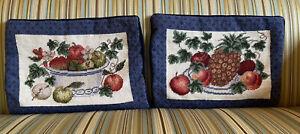 Pair Of Vintage Needlepoint Pillow Covers -  Various Fruit - Velvet Backs - EUC