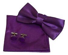 Men Satin pocket Square Handkerchief + bow tie + cufflinks 3pcs Set UK Wedding