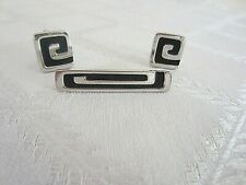 Vintage Hickok Tie Bar and Cuff Links Set-Black and Silver Greek Key Design