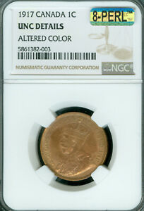 1917 CANADA LARGE CENT NGC MS-65 RB MAC 8PERL FIRST STRIKE