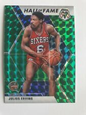"Julius Erving ""Hall Of Fame"" ""Green Prizm"" 2019-20 Mosaic Insert Basketball Card"