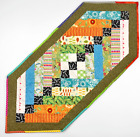 Handmade Quilted Patchwork Table Runner Scrappy Multicolor 18 X 42