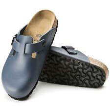 Birkenstock Boston LEDER Clogs schmal blau Hausschuhe Pantoletten Schuhe 060153