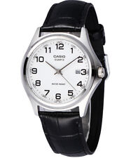 CASIO MTP-1183E-7B Standard Analog Date Leather Strap White Black