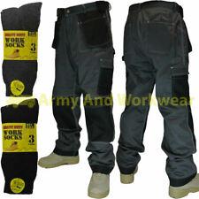 Workwear Trouser Tuff Multi Pocket Mens Pants Triple Stitched Free Work Socks