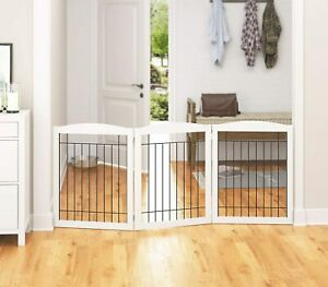 Extra Wide Dog gate for The House, Doorway, Stairs, Freestanding Foldable Wire