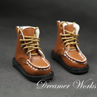 1/4MSD BJD Climbing Shoes Doll Brown Round-toe Leather Boots Lace-up Black Sole
