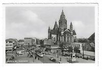 AK, Mainz, Belebter Platz, Straßenbahn, Autos, Dom, Häuser, 1958