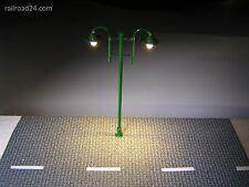 Doppio LED strassenlaterne nostalgia VERDE 80 mm traccia h0/tt