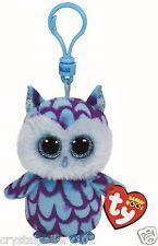 TY Beanie Babies Boo's Oscar Owl Key Clip 3 Inch Stuffed Plush Toy NEW