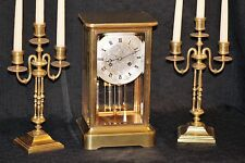 Antique large french four glass crystal regulator month running W JOHNSON LONDON